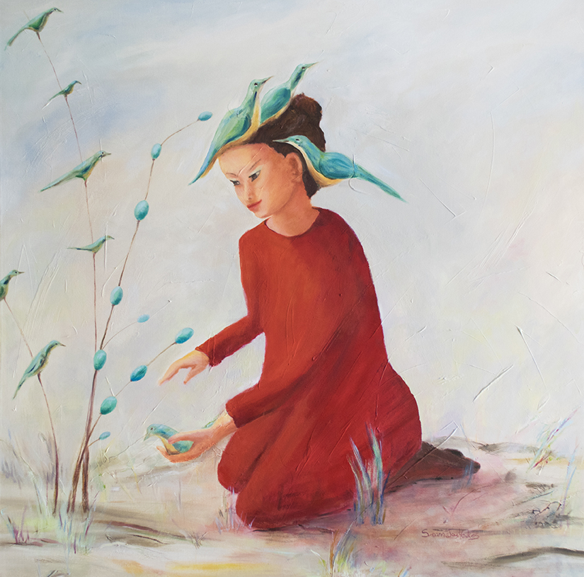 Susanna Hawkes oil painting. A bird in the hand. Asian girl in red dress holding a bird in hand. For a children's book.