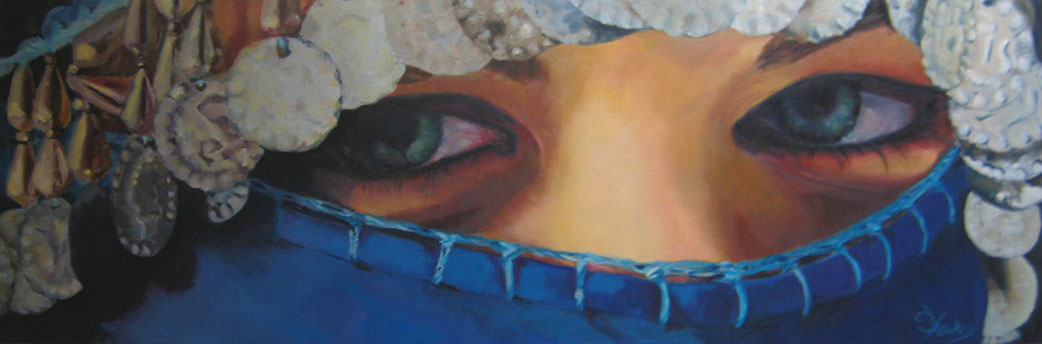 Susanna Hawkes oil painting. Eyes. Painting of the beautiful eyes of a women in a head dress.