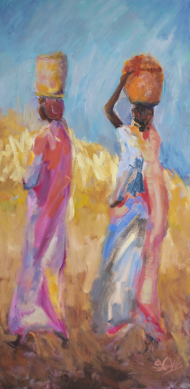 Susanna Hawkes oil painting. Homeward II. two afircan women carring pots on their heads. Light colourful painting.