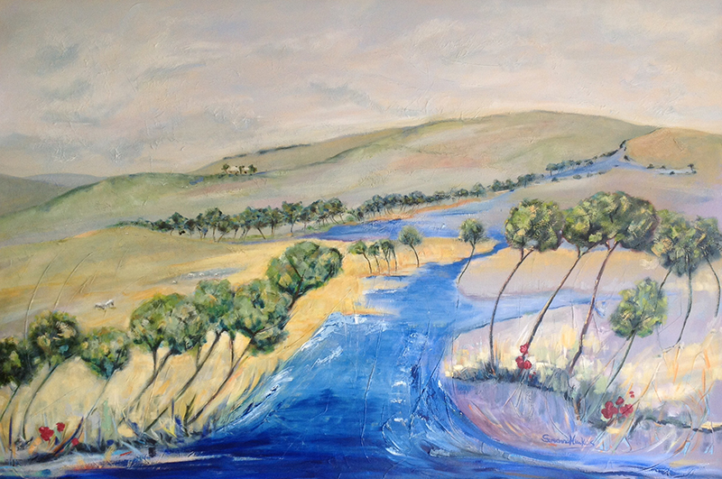 Susanna Hawkes oil painting. sheep grazing. Landscape painting of a river and sheep fields.