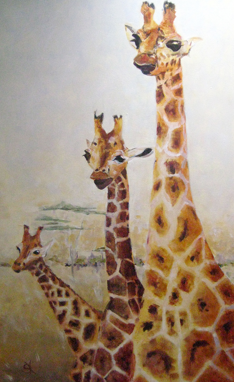 Susanna Hawkes oil painting. Three friends. Three giraffes on an african savanna.