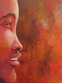 Susanna Hawkes oil painting. African beauty. African womens face with a dark orange background.