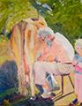 Susanna Hawkes oil painting.  Dad and the two tess. Grandad milking a cow with his grand daughter.