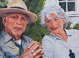 Susanna Hawkes oil painting. Jack and Joan. Painting of elderly couple.