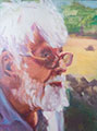 Susanna Hawkes oil painting. Jumbo. Portrait painting of elderly man in the country.
