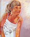Susanna Hawkes oil painting. Kalah. Young girl in a white dress.