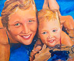 Susanna Hawkes oil painting. Leone and boo. Women and baby in the pool.