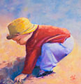 Susanna Hawkes oil painting. Little boy on the beach. Painting of a little boy wearing a yellow hat.
