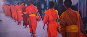 Susanna Hawkes oil painting. Monks. Monks in orange robes walking in a line.