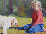 Susanna Hawkes oil painting. Nicole. Young blonde girl playing with her dog.