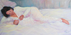Susanna Hawkes oil painting. Rebecca and zavian. Painting of women in white on a bed with her baby.