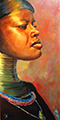 Susanna Hawkes oil painting. Royal blood. African women on orange background.