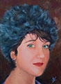 Susanna Hawkes oil painting. Tess. Young girl with fluffy hat on.